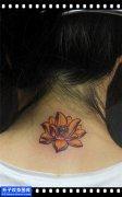 女性脖子传统彩色荷花纹身图案大全