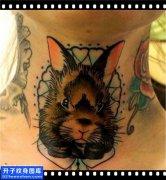 男性脖子欧美兔头纹身图案大全