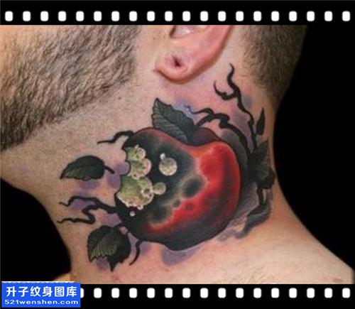 男性脖子苹果纹身图案大全