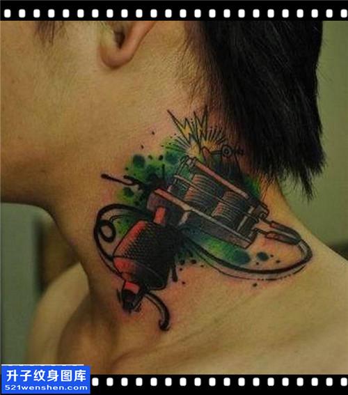 男性脖子欧美纹身机纹身图片大全