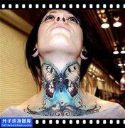 女性脖子欧美蝴蝶纹身图片大全
