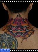 男性后背传统彩色唐狮纹身图案大全