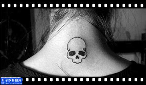 女性脖子图腾骷髅纹身图案大全
