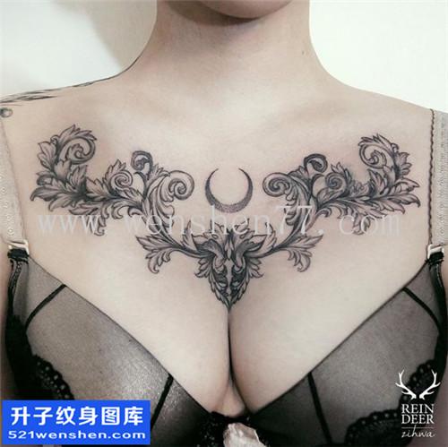 女性花胸欧美点刺纹身图案大全