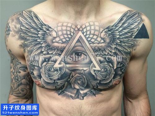 男性欧美花胸玫瑰翅膀眼睛点刺纹身图案大全