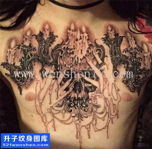 重庆纹身哪里便宜 男性欧美花胸骷髅蜡烛纹身图案大全