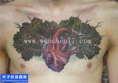 男性欧美花胸树枝心脏纹身图案大全