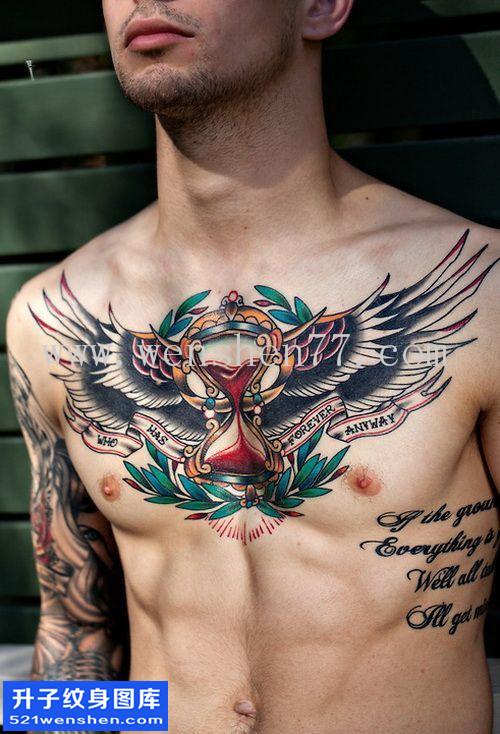 男性欧美花胸翅膀沙漏纹身图案大全