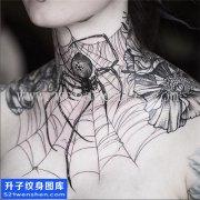 男性欧美脖子蜘蛛纹身图案大全