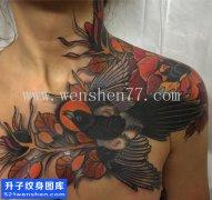 女性欧美树枝鸟纹身图案大全