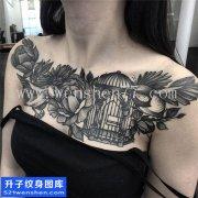 女性欧美花销鸟笼花纹身图案大全