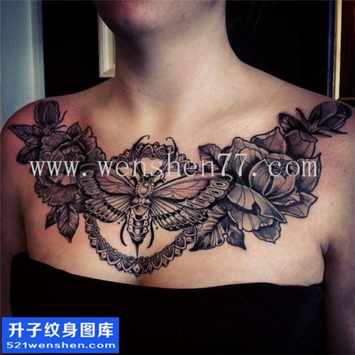 型欧美花胸蝴蝶玫瑰纹身图案大全