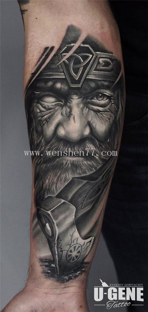 手臂肖像人物纹身图案大全 解放碑纹身
