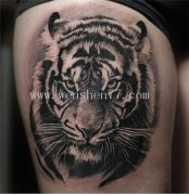 大腿黑灰老虎纹身图案大全 沙坪坝纹身