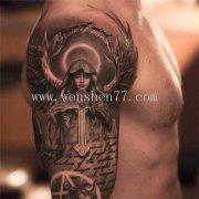 大臂黑灰欧美天使纹身图案大全 江北纹身