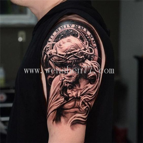 大臂黑白耶稣纹身图案大全 观音桥纹身