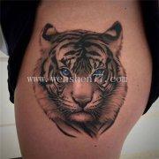 大腿写实老虎纹身图案大全