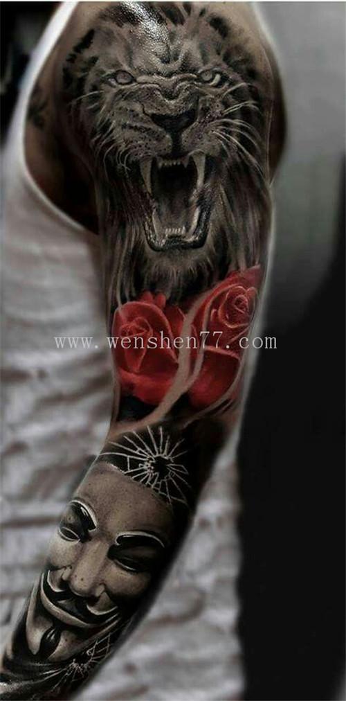 欧美写实花臂纹身图案老虎玫瑰V字仇杀队