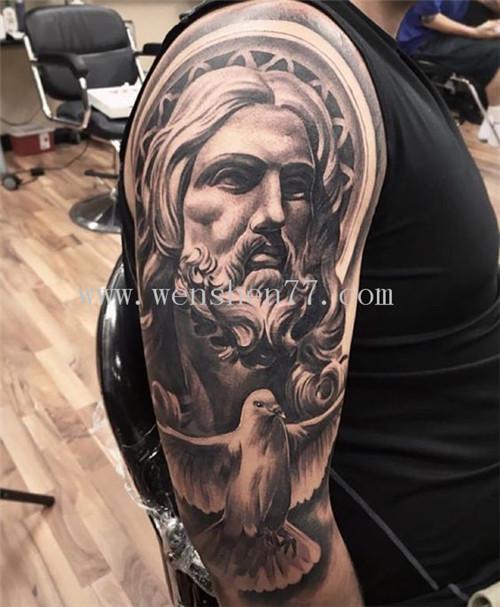 手臂欧美人物肖像纹身图案大全