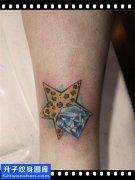 脚踝五角星钻石纹身图案 杨家坪纹身