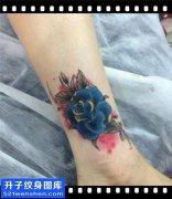 脚踝玫瑰纹身图案大全