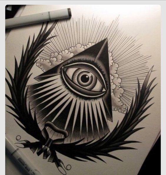 上帝之眼纹身手稿图案 杨家坪纹身