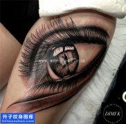大腿写实眼睛纹身图案大全 南坪纹身