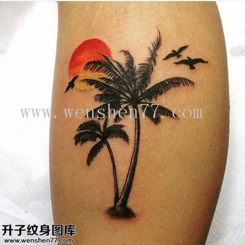 小腿外侧椰子树纹身图案大全 观音桥纹身