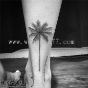脚后跟椰子树纹身图案大全 较场口纹身
