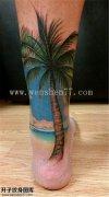 小腿后侧欧美椰子树纹身图案  黄角坪纹身