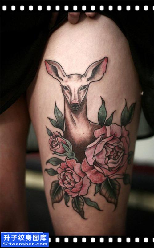 女性大腿欧美鹿纹身图案大全