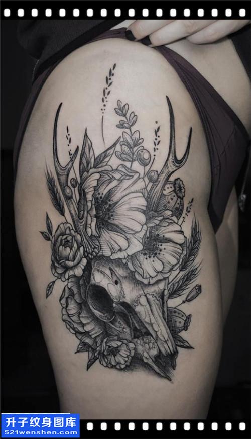 女性大腿欧美骷髅鹿纹身图案大全