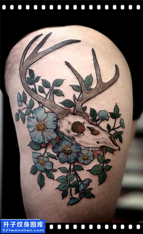 女性大腿欧美骷髅鹿纹身图片大全