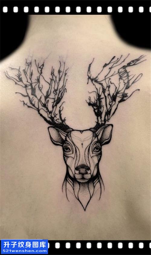 女性后背点刺鹿纹身图案大全