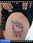 女性大腿欧美彩色鹿纹身图案大全