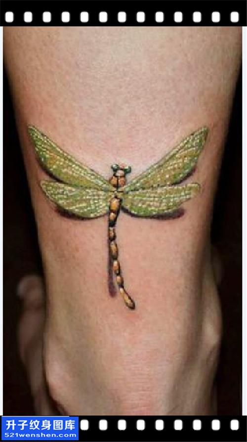 男性小腿欧美蜻蜓纹身图案大全