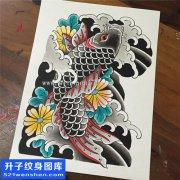 彩色老传统鲤鱼纹身手稿图案大全