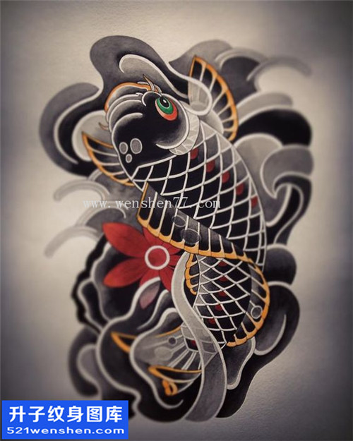 鲤鱼纹身手稿图案大全 观音桥纹身