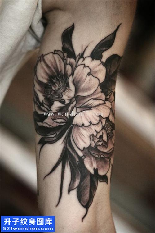 男性大臂传统黑灰牡丹纹身图片大全
