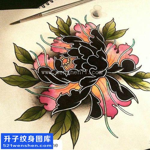 纹身手稿传统牡丹纹身图案大全