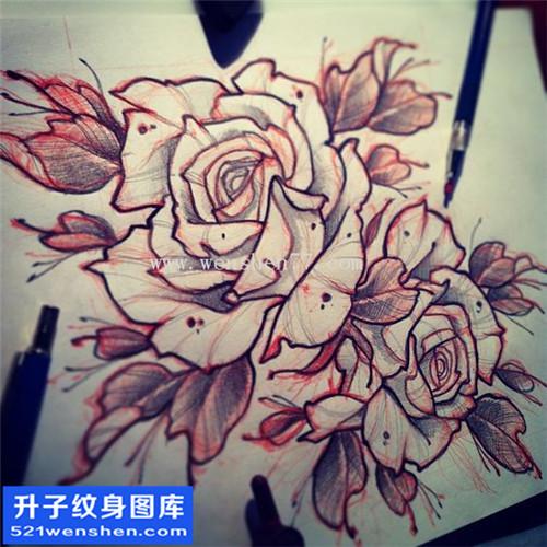 纹身手稿传统玫瑰纹身图案大全