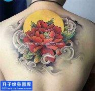 男性后背传统彩色牡丹纹身图片大全