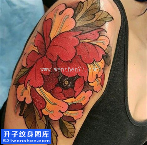 女性大臂传统彩色牡丹纹身图案大全