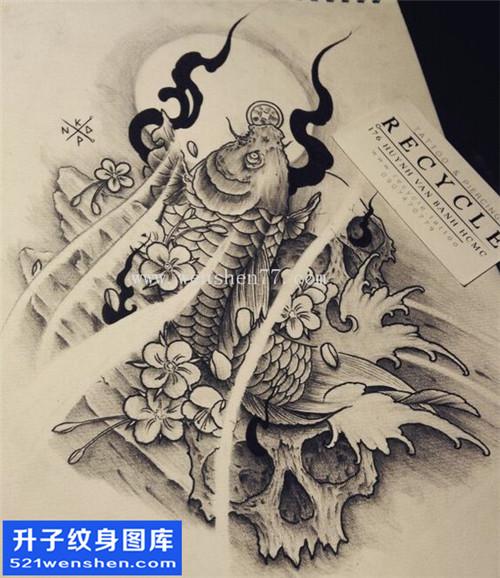 纹身手稿传统鲤鱼骷髅纹身图片大全