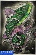 纹身手稿传统鲤鱼纹身䒓