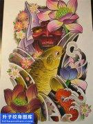 纹身手稿传统鲤鱼般若纹身图片大全