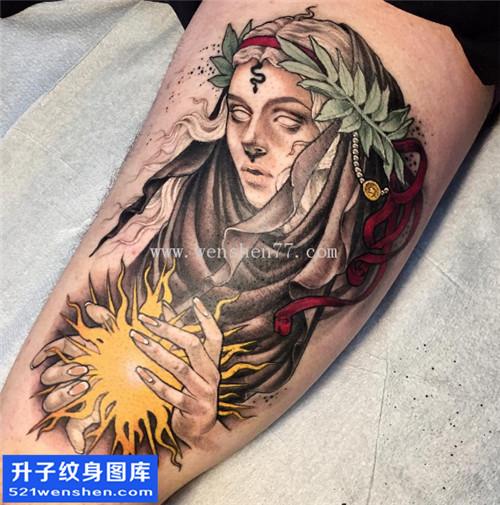 大腿彩色人物纹身图案大全