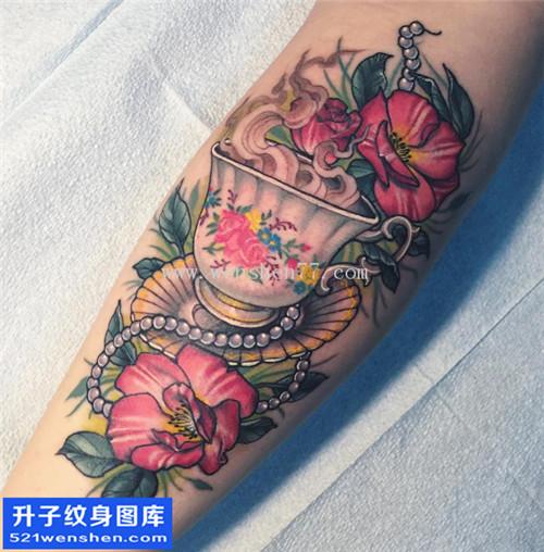 小腿植物咖啡纹身图片