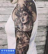 女性花臂人物肖像纹身图片大全