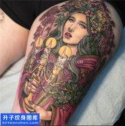 大腿根部彩色美女肖像纹身图片大全